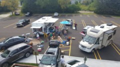 setting up a camp ground in the parking lot